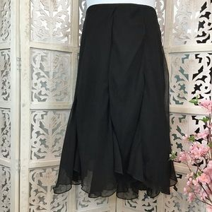 George ME Black Asymmetrical Layered Skirt 20W
